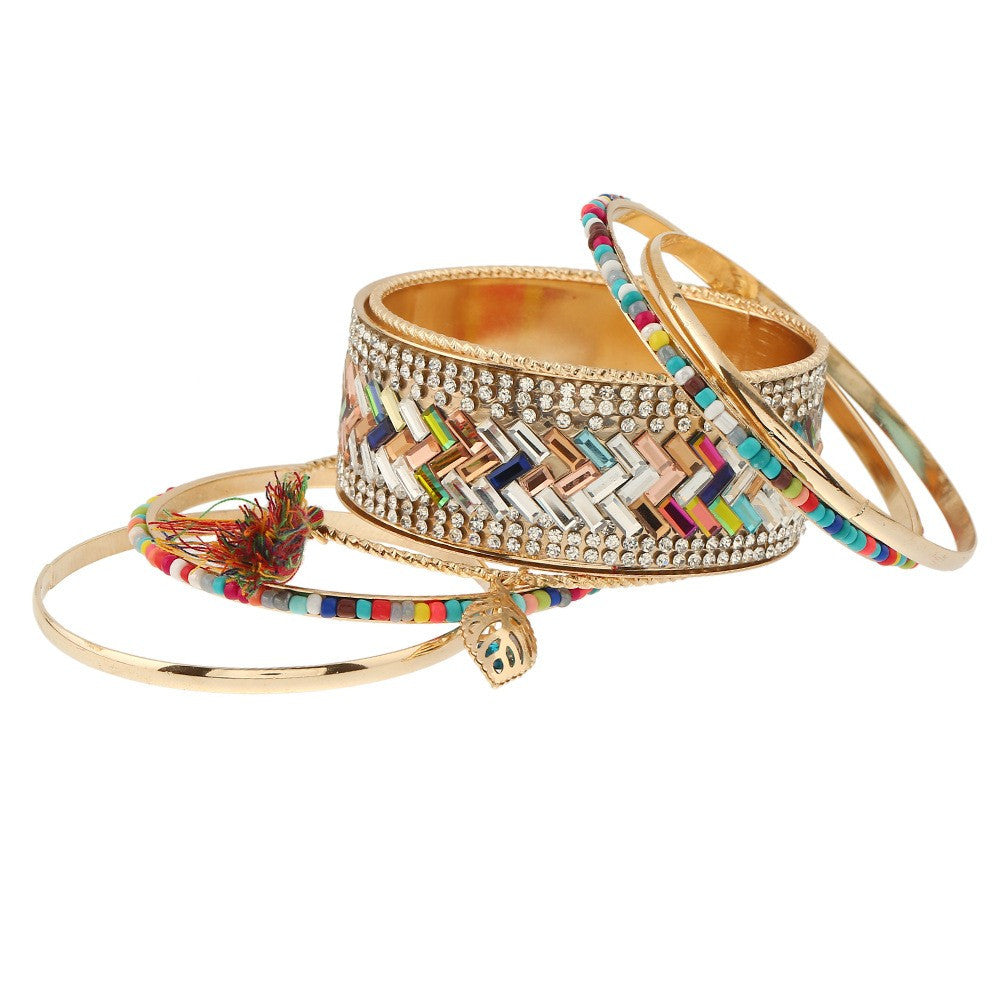 Stacked Pattern Bangle Bracelet Set - Luna's Jewelry Warehouse - 3