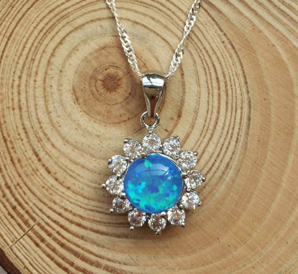 Sunshine Fire Opal Pendant Necklace - Luna's Warehouse