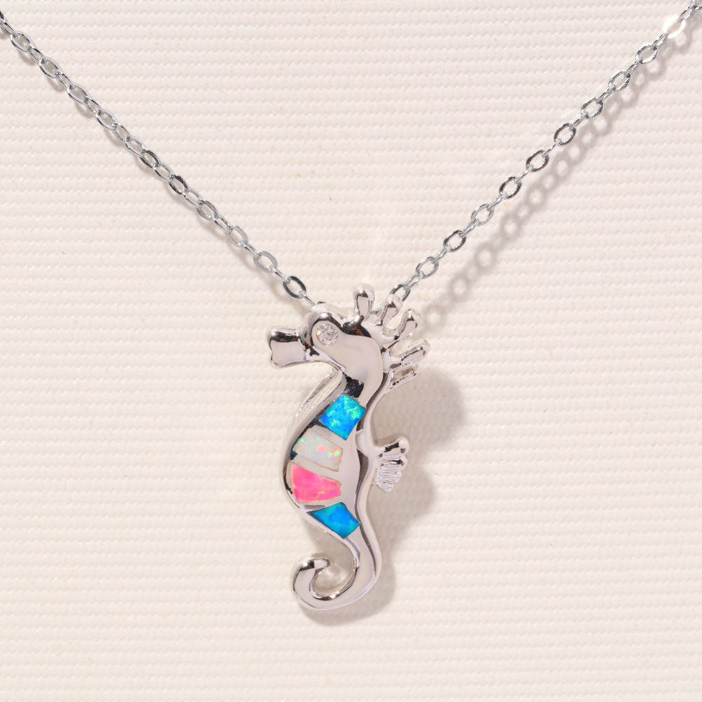 Rainbow Sea Horse Necklace - Luna's Jewelry Warehouse - 2