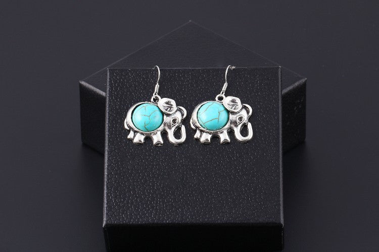 Turquoise Elephant Drop Earrings - Luna's Warehouse