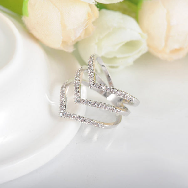 Cubic Zirconia Chevron Ring - Luna's Warehouse