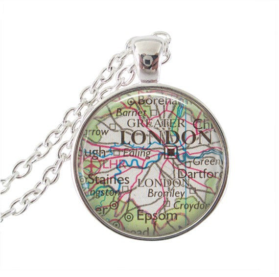 London Map Dome Necklace