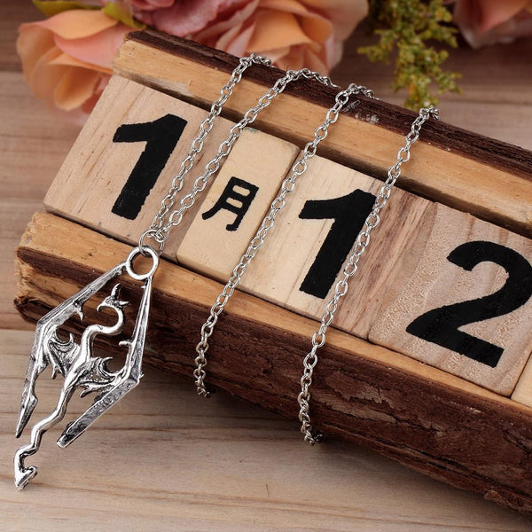 Elder Scrolls Skyrim Dragon Pendant Necklace - Luna's Warehouse