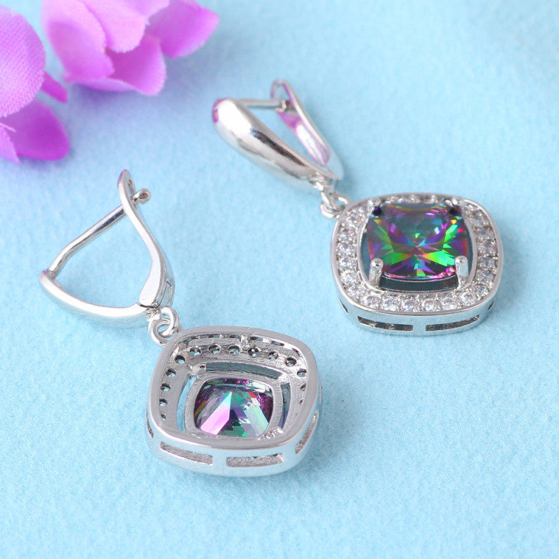 Embellished Rainbow  Mystic Topaz Drop Earrings - Luna's Warehouse