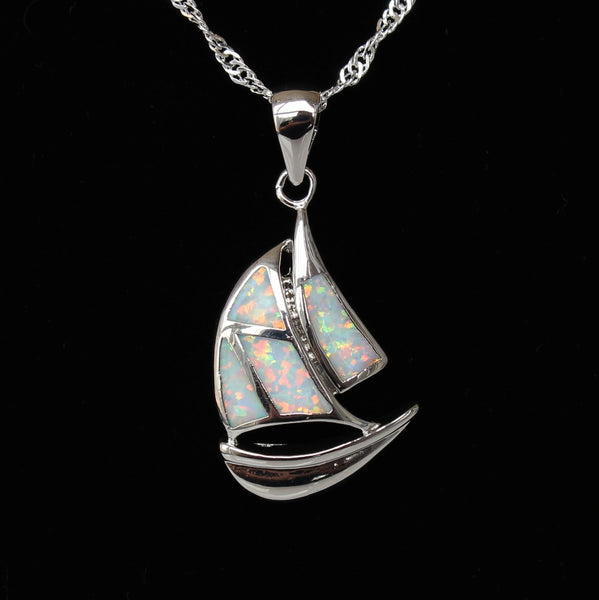Blue Fire Opal Sailboat Pendant Necklace - Luna's Warehouse