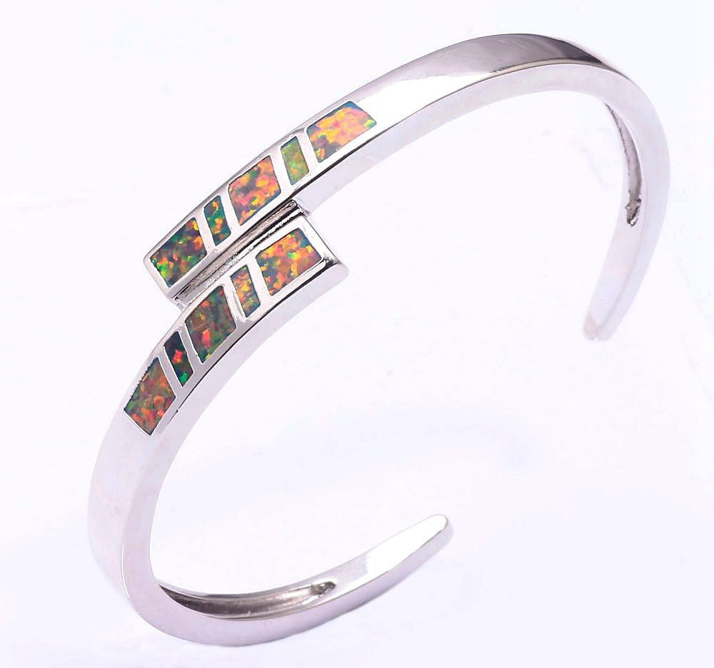 Wrapped Fire Opal Cuff Bracelet - Luna's Jewelry Warehouse - 5