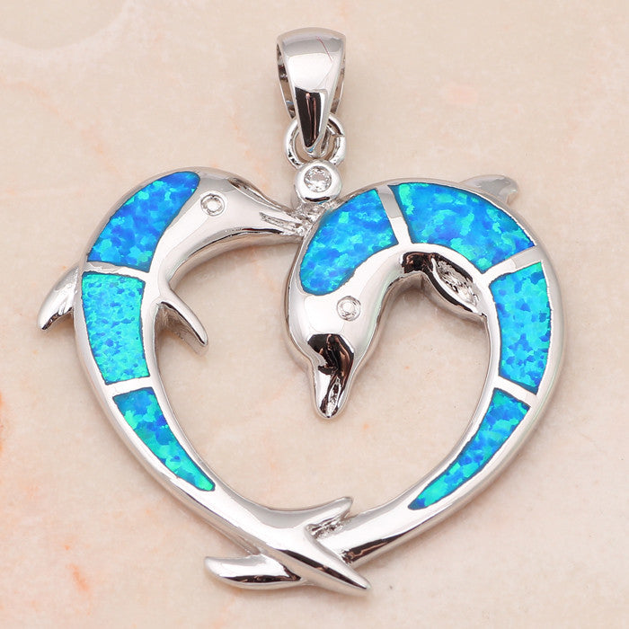Double Dolphin Fire Opal Heart Pendant Necklace - Luna's Warehouse