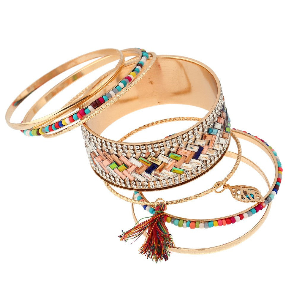 Stacked Pattern Bangle Bracelet Set - Luna's Jewelry Warehouse - 4