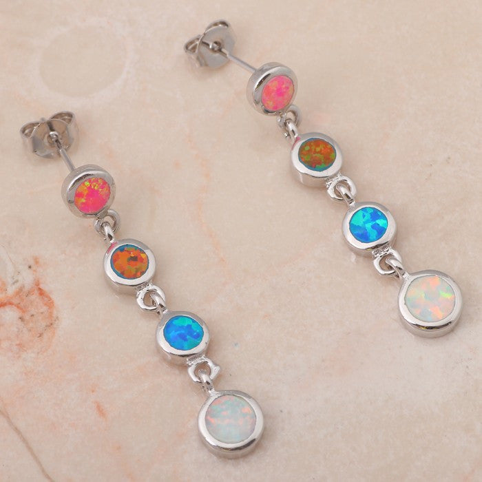 Opal Linear Multi Colored Drop Earrings - Luna's Warehouse