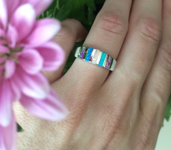 Tri-color Opal Ring - Luna's Jewelry Warehouse - 1