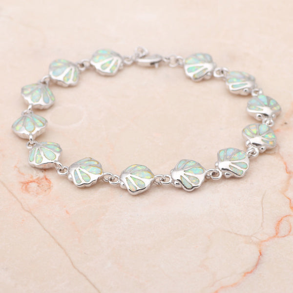 Fire Opal Sea Shell Link Bracelet - Luna's Warehouse