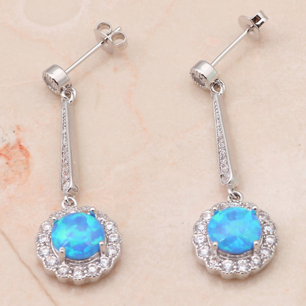 Blue Fire Opal Drop Earrings - Luna's Warehouse