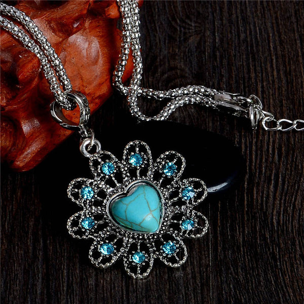 Turquoise Heart Pendant Necklaces - Luna's Warehouse