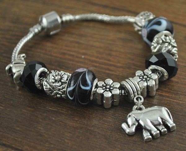 Black Beaded Elephant Charm Bracelet - Luna's Warehouse