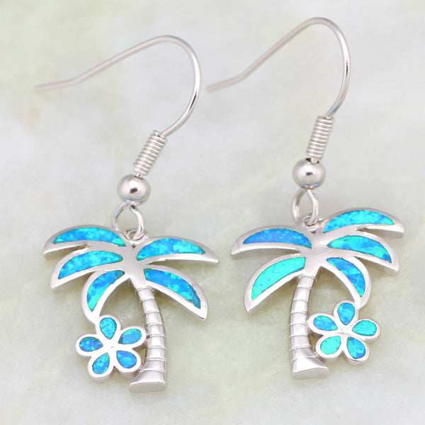 Fire Opal Palm and Flower Earrings - Luna's Warehouse