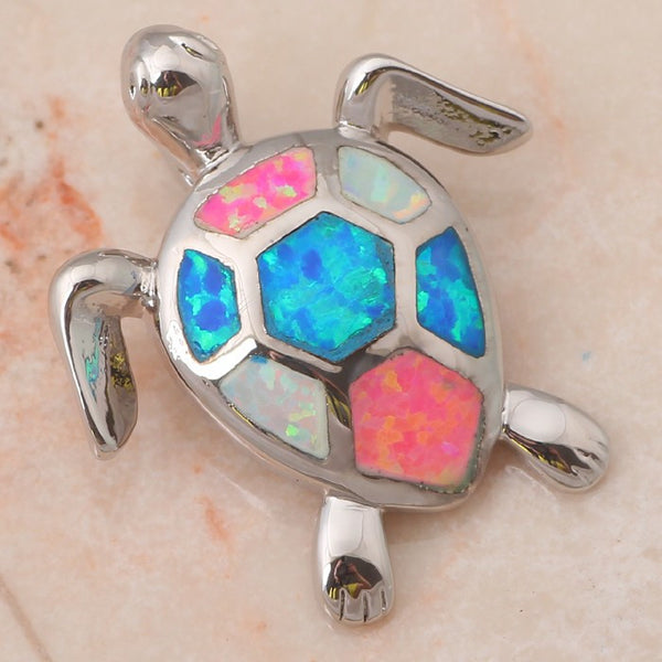 Tri Colored Fire Opal Turtle Pendant - Luna's Warehouse