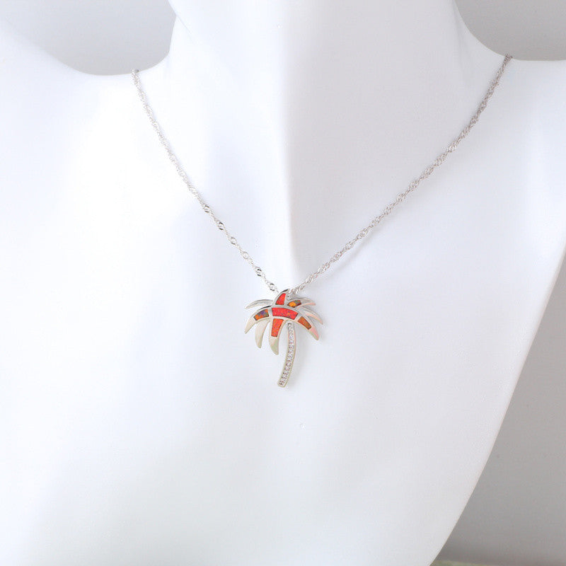 Fire Opal Palm Tree Necklace - Luna's Jewelry Warehouse - 4
