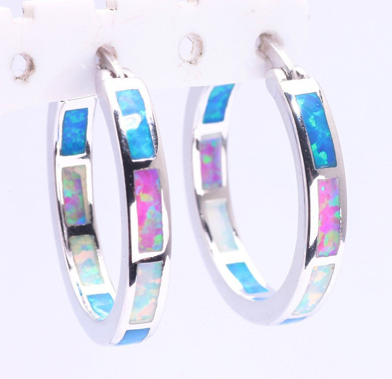 Tri colored Opal Hoop Earrings - Luna's Warehouse