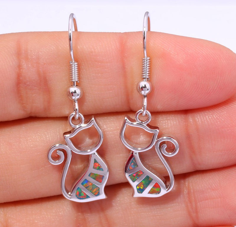 Cat Drop Earrings - Luna's Jewelry Warehouse - 2