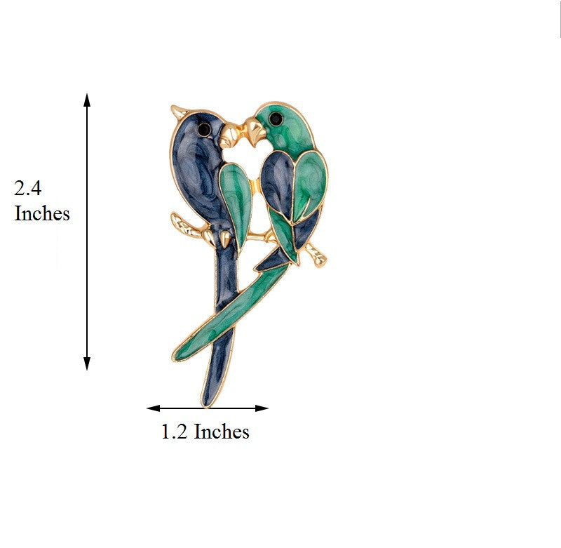 A Pair of Lovebirds Brooch - Luna's Jewelry Warehouse - 3