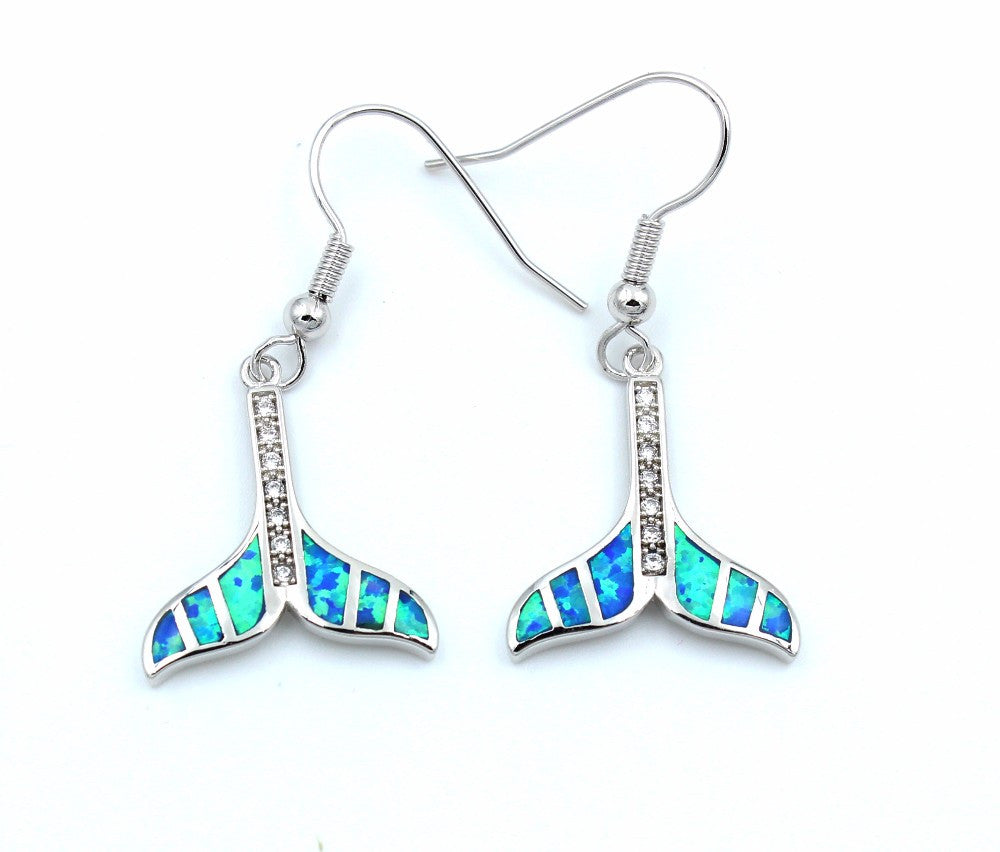 Embellished Whale Tail Earrings - Luna's Warehouse
