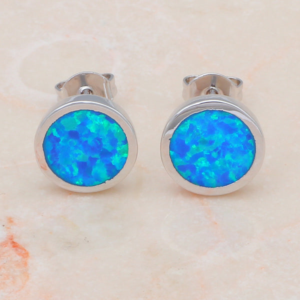 Blue Fire Opal Round Earrings - Luna's Warehouse