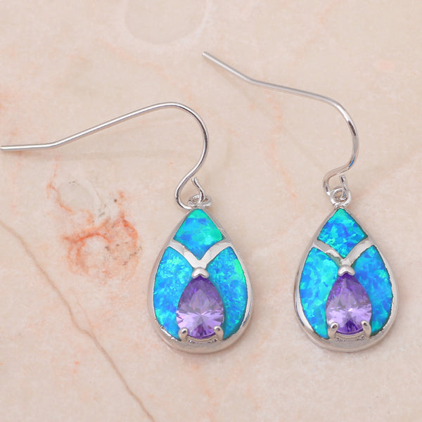 Rainbow Fire Opal Drop Earrings - Luna's Warehouse
