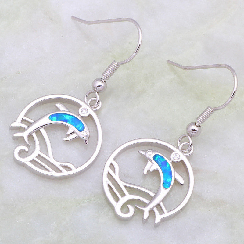 Blue Opal Dolphin Hoop Drop Earrings - Luna's Warehouse