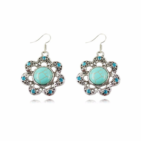 Turquoise Drop Flower Earrings - Luna's Warehouse