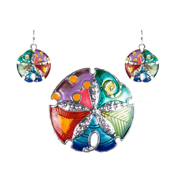 Multi Color Sand Dollar Necklace and Earring Set - Luna's Warehouse