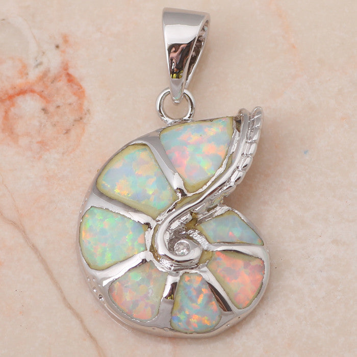 Fire Opal Sea Shell Pendant - Luna's Jewelry Warehouse - 2
