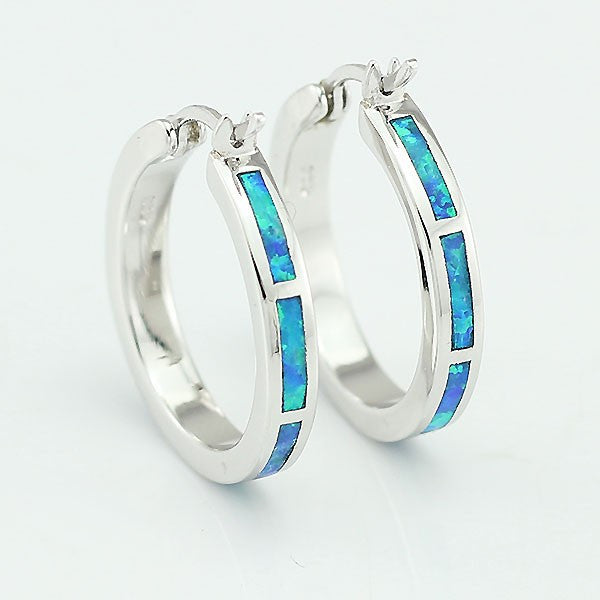 Blue Fire Opal Medium Hoop Earrings - Luna's Warehouse