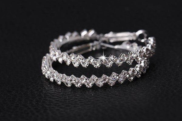 Austrian Crystal Giant Hoop Earrings - Luna's Warehouse