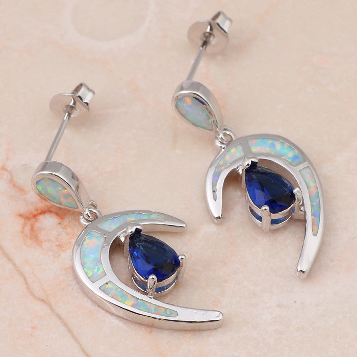 Curved Zirconia and Opal Earrings - Luna's Warehouse