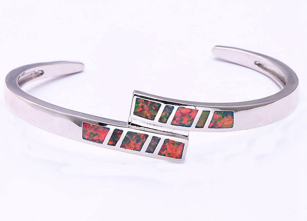 Wrapped Fire Opal Cuff Bracelet - Luna's Jewelry Warehouse - 2