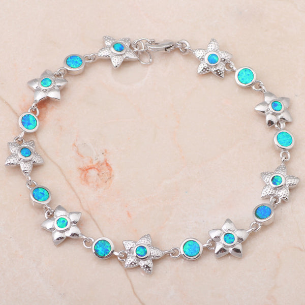 Fire Opal Starfish Link Bracelet - Luna's Warehouse