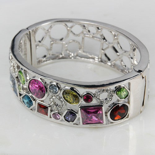 Jeweled Sterling Silver Bracelet - Luna's Warehouse