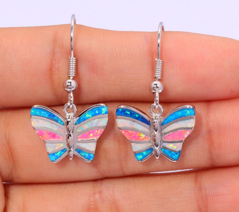 Rainbow Butterfly Drop Earrings - Luna's Warehouse