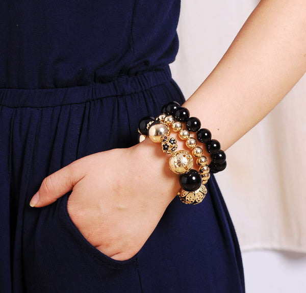 Beaded Black & Gold Layered Bracelets - Luna's Warehouse