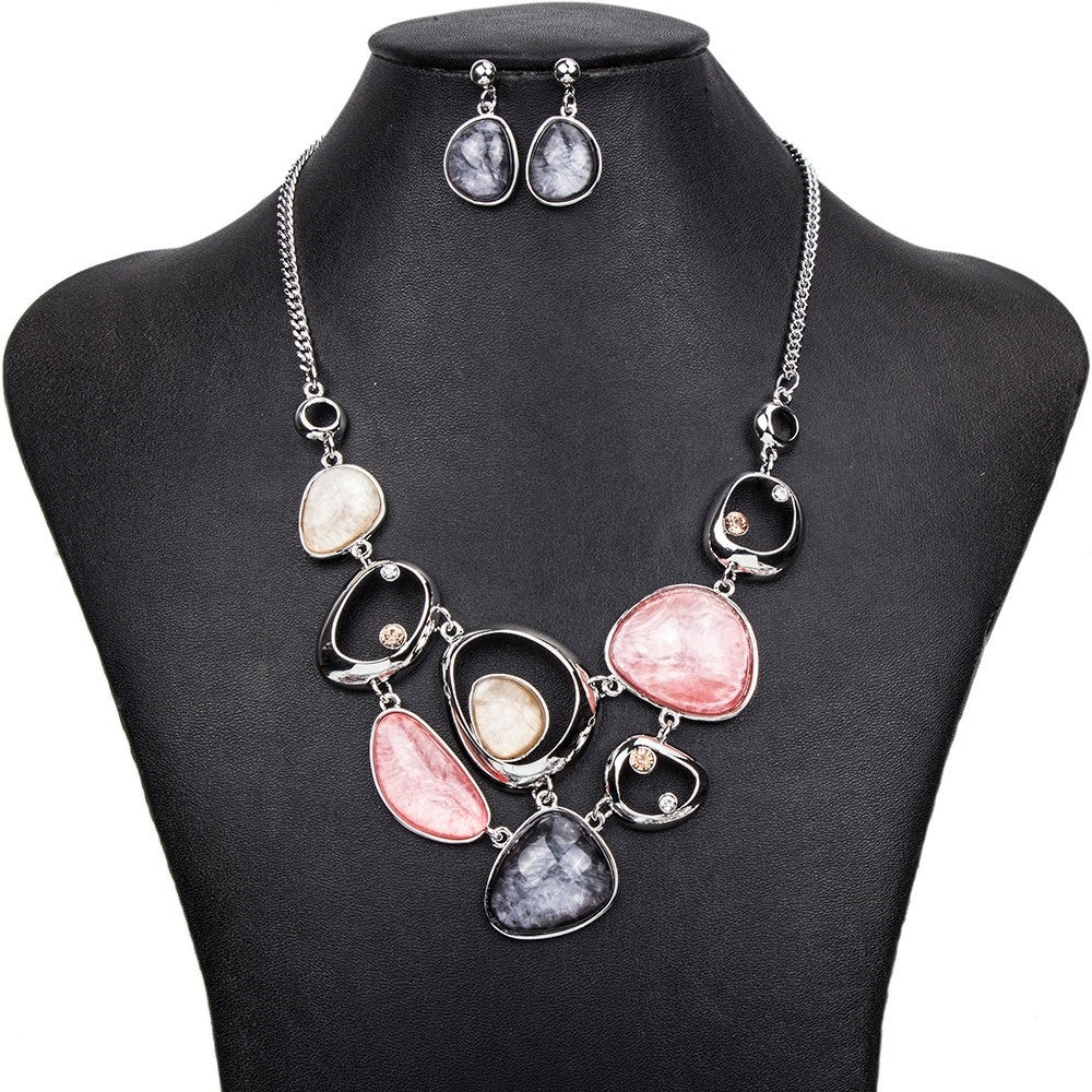 Layered Statement Necklace and Earring Set - Luna's Jewelry Warehouse - 6
