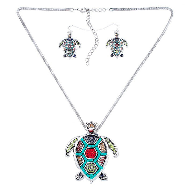 Beaded Sea Turtle Pendant and Earring Set - Luna's Warehouse