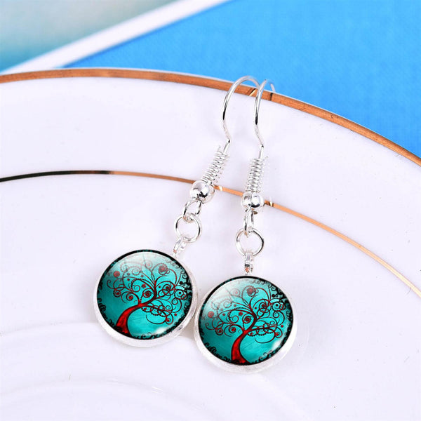 Tree of Life Drop Dome Earrings - Luna's Warehouse