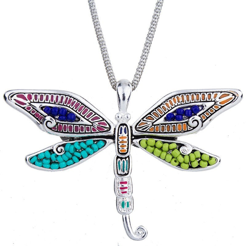Beaded Firefly Pendant and Earring Set - Luna's Warehouse