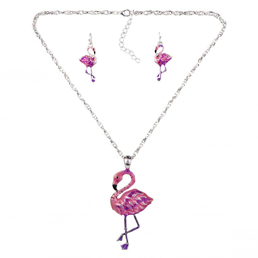 Pink Flamingo Necklace And Earring Set  Luna's Warehouse