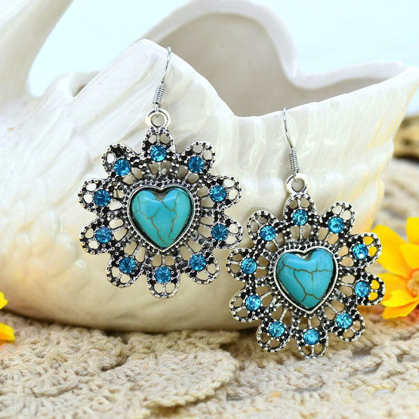 Turquoise Heart Inlayed Flower Drop Earrings - Luna's Warehouse