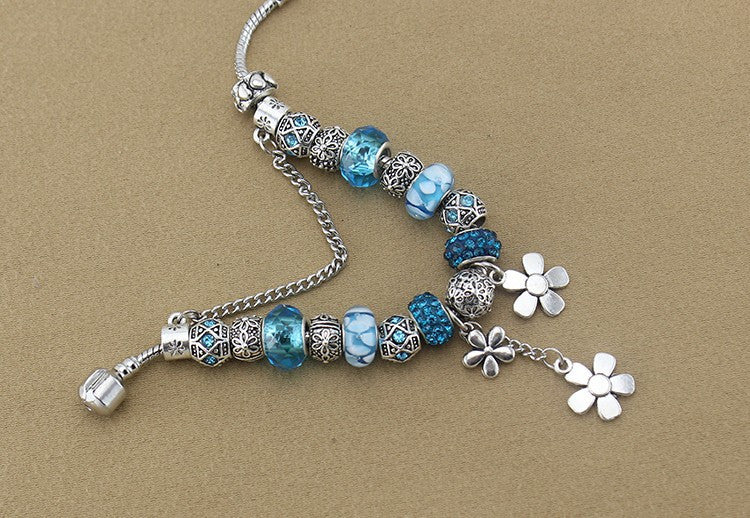 Beaded Blue Flower Charm Bracelet - Luna's Warehouse