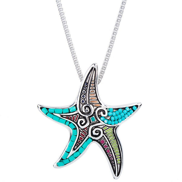 Beaded Starfish Pendant and Earring Set - Luna's Warehouse