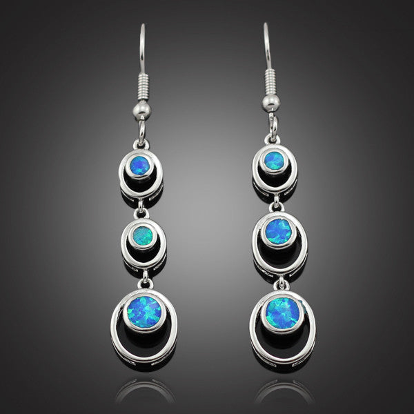 Opal Linear Drop Earrings - Luna's Warehouse