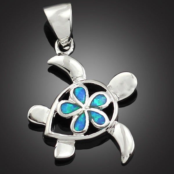Sea Turtle Pendant with Fire Opal Flower - Luna's Warehouse