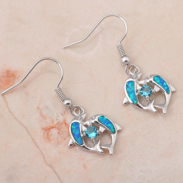 Twin Dolphin Drop Earrings - Luna's Warehouse